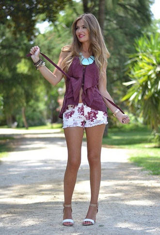 shorts floral pink purple white short