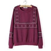 sweatshirt,pullover,burgundy sweater,embroidered sweatshirt,fall sweater