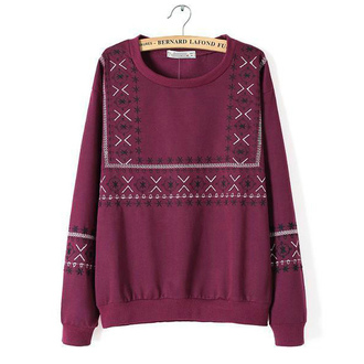 sweater pullover burgundy sweater embroidered sweatshirt fall sweaters