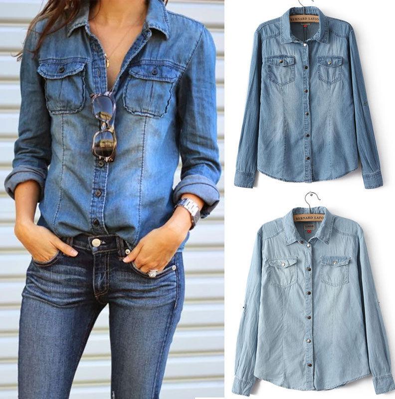 6e89708db9f Retro Fashion Women Casual Blue Jean Denim Long Sleeve Shirt ...