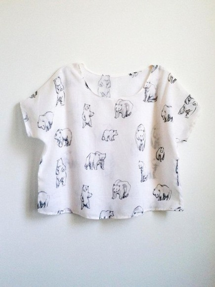 t-shirt white t-shirt bear