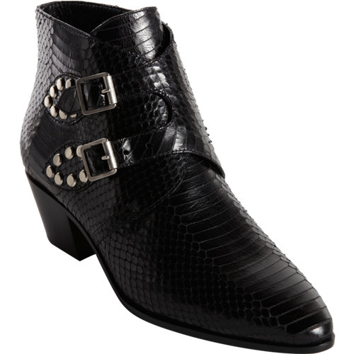 Saint laurent printed watersnake double monk ankle boot at barneys.com