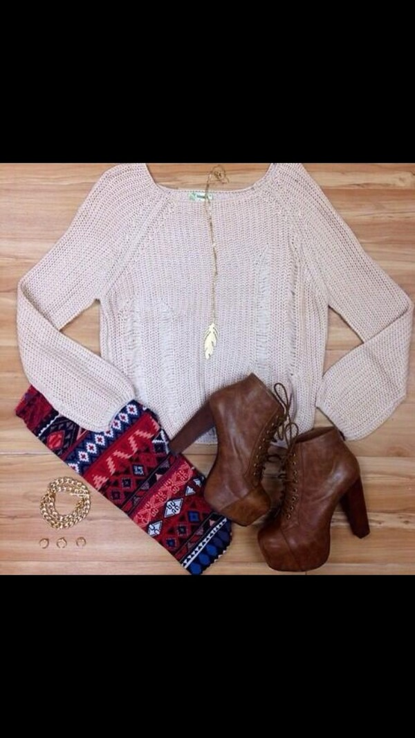 pants aztec leggings sweater shirt beige leggings clothes white sweater brown shoes high heels