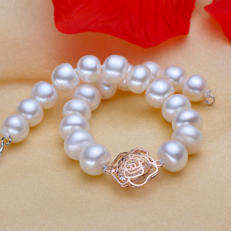 New Forever Rose Pearl Bracelets Natural freshwater pearls One layer bracelet Women's Jewelry Gifts AAAA 925 Silver Rose flower-in Strand Bracelets from Jewelry on Aliexpress.com | Alibaba Group