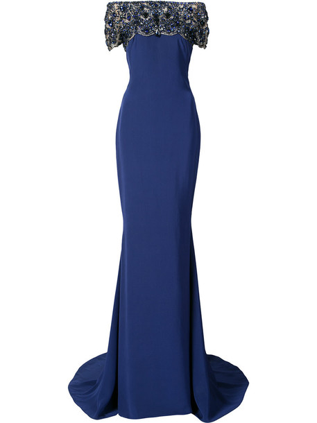 Marchesa dress maxi dress maxi women blue silk