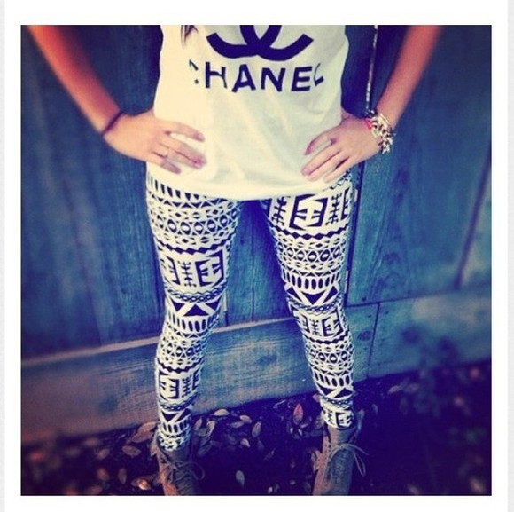 t shirt blouse chanel aztec leggings