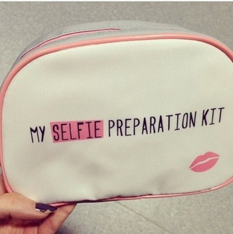 bag selfie pink bag pastel pink bag white bag black letters black lettering makeup bag small bag cute bag