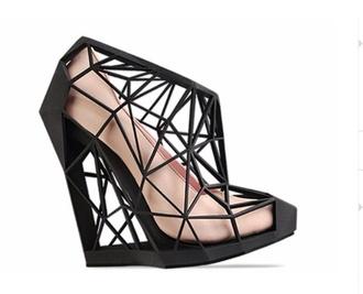 shoes heels wedges black 3d geometric cut-out
