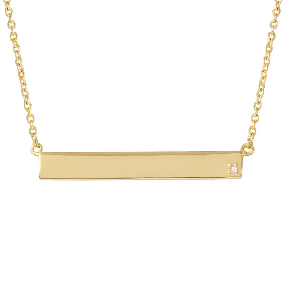 Bar Necklace Gold Diamond