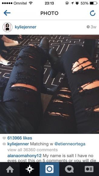 jeans distressed jeans black kylie jenner
