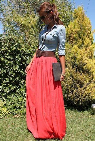 skirt coral skirt denim shirt