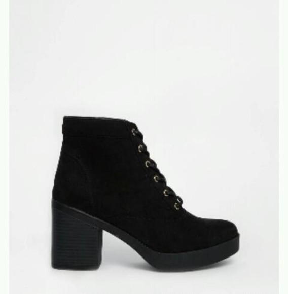 high heels chunky boots laces