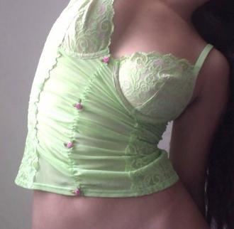 underwear green adorable cute princess rose corset top qt