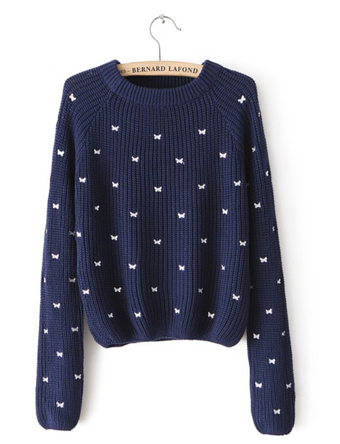 New spring winter women lady's bow pattern embroidered long sleeved round neck pullover sweater tops i0287 free shipping