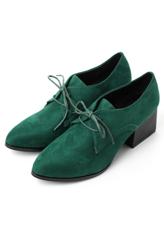 faux shoes suede pointed toe green