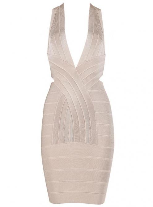 Apricot Deep V Neck Backless Bandage Dress H440A$99