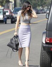 kylie jenner,cute,crop tops,classy,skirt,blouse