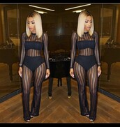 jumpsuit,mesh jumpsuit,see through,black jumpsuit,mesh,mesh outfit,black,party outfits,sexy,sexy outfit,cute,girly,date outfit,clubwear,classy,summer outfits,celebrity style,celebstyle for less