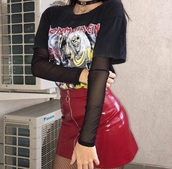 skirt,red,leather,leather skirt,red skirt,streetstyle,streetwear,sexy,bomb,lit,iron maiden,80 90 fashion,grunge,metal,punk,shirt