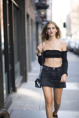 the blonde salad blogger shoes bag bandeau bikini black top long sleeves denim skirt black skirt high waisted skirt shoulder bag