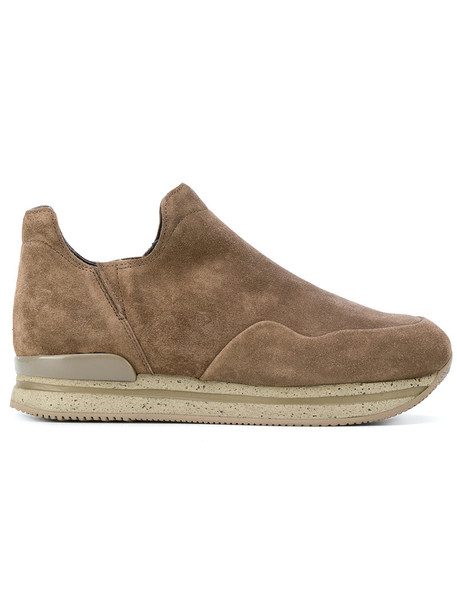 Hogan boot women sneakers leather suede brown shoes