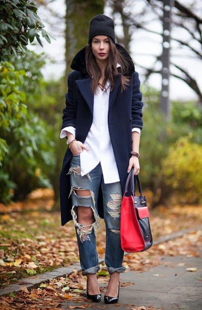 coat ripped jeans trench coat winter coat style streetstyle streetwear cool jacket