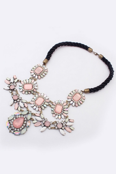Faux Stone Flower Bib Necklace - OASAP.com