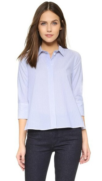 blouse white blue bright top