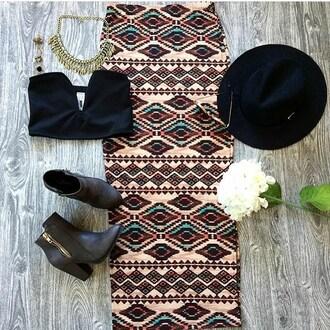 skirt belle xo tribala aztec design print boho bohemian maxi maxi skirt long slit fall outfits winter outfits fashions style cute