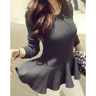 blouse top rose wholesale streetwear korean fashion peplum peplum top classy fashion toast casual clutch