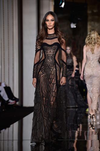 dress gown fashion sheer joan smalls fashion week 2015