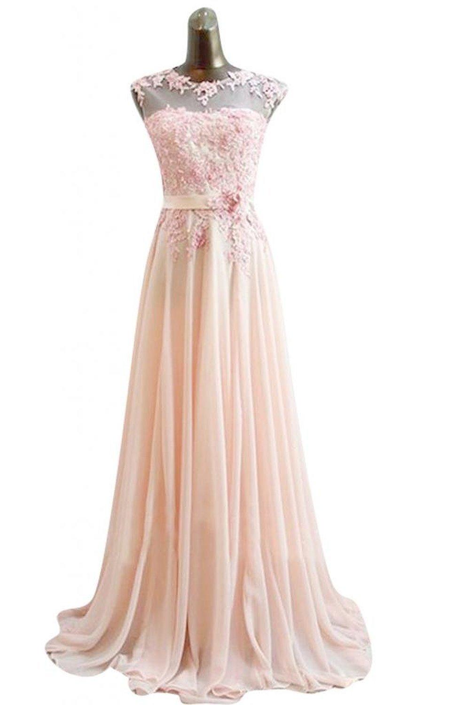 Amazon.com: KissBridal Chiffon Evening Gowns Appliques Long Prom Dress: Clothing