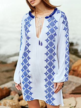 dress white blue trendy fashion style festival long sleeves dressfo