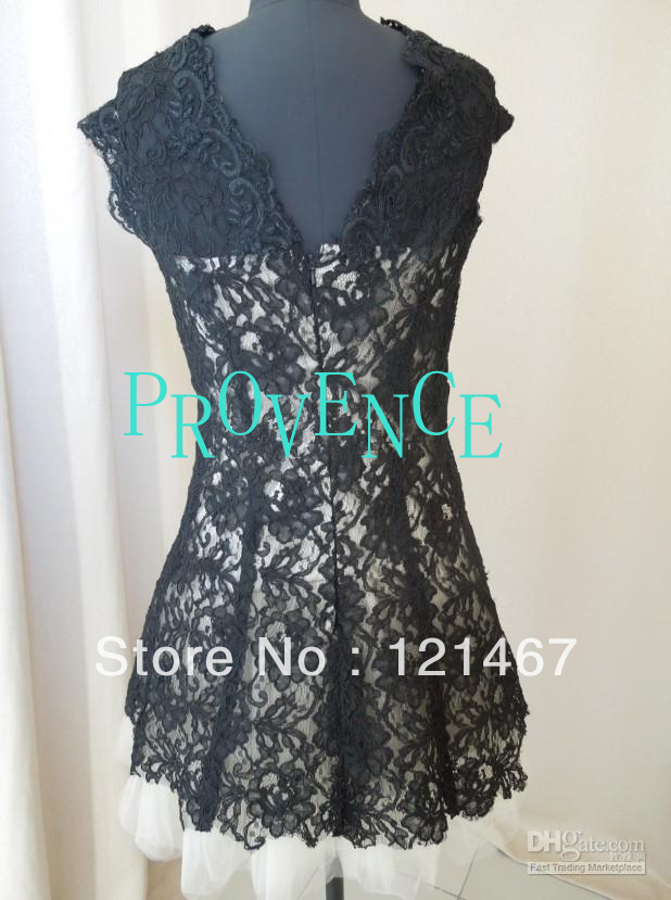 2013 nieuwe brooklyn decker nha khanh zwarte korte mouwen mini kant beroemdheid jurken prom dresses z 132