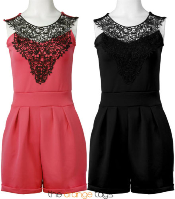 dress black coral black lace shorts jumpsuit romper summer spring cute sexy celebrity style onesie neck lace summer outfits summer dress