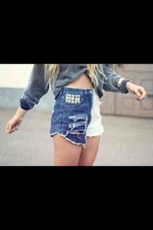 shorts,studs,ombre,ombré studded shorts,ombre shorts,white shorts,blue jean shorts