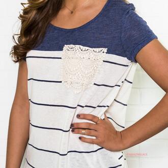 shirt navy stripes pocket frocket lace amazinglace tee short sleeve