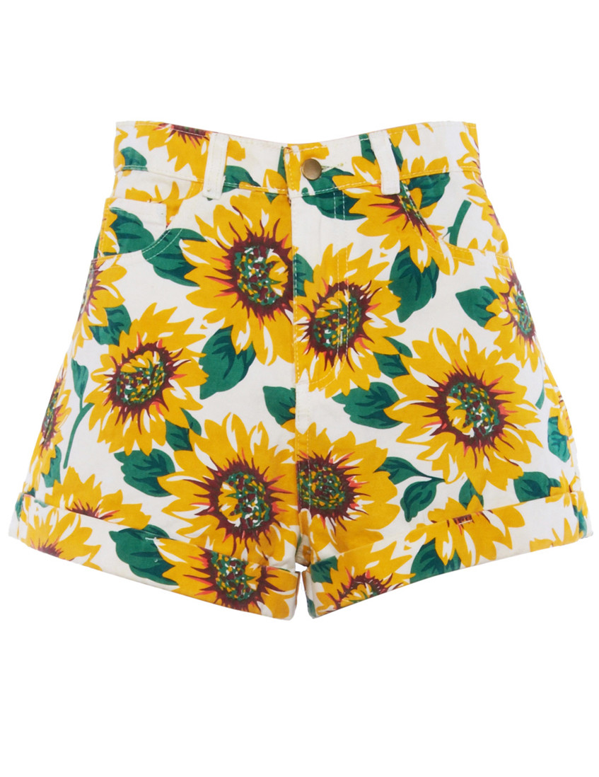 Women Sunflower Print  Denim High-Waist Cuff Short - PrettyGuide