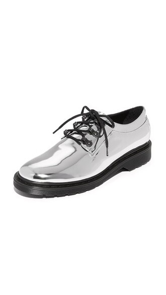 oxfords lace silver shoes