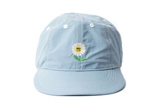 hat blue blue hat baseball cap flowers daisy smiley flower hat
