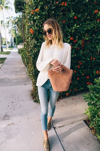 blouse tumblr white blouse denim jeans blue jeans bag handbag shoes mules metallic sunglasses