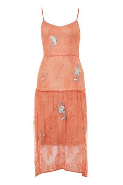 Topshop dress lace coral