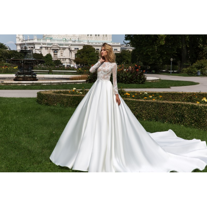 Crystal Design 2018 Dilma Royal Train White Elegant Ball Gown Bateau Long Sleeves Beading Hall Winter Satin Wedding Gown - Rich Your Wedding Day