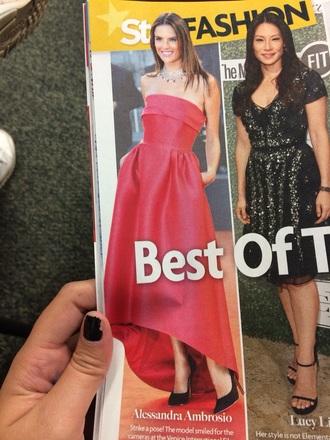 shaped dress maxi dress high low dress alessandra ambrosio red dress