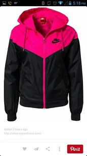 coat,jacket,nike,windbreaker,pink,black,nike windbreaker