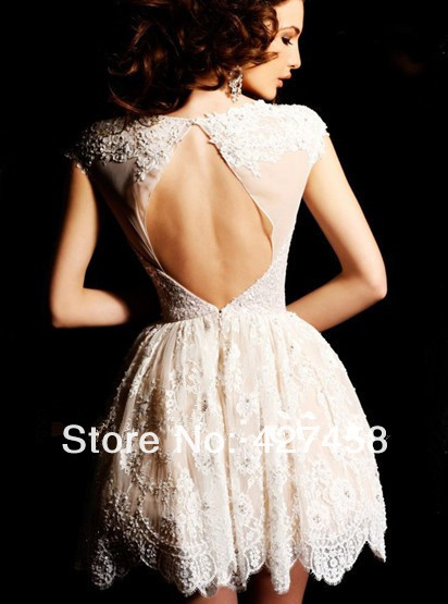 Best Selling 2013 Sexy New Short Sleeves Sequins Beaded Black Mini Short Lace Cocktail Dresses Prom Dresses-in Prom Dresses from Apparel & Accessories on Aliexpress.com