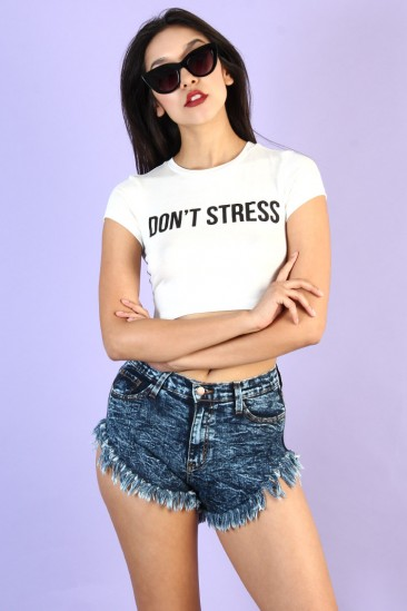 Don't stress print crop top