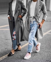 coat,tumblr,grey coat,grey long coat,long coat,sneakers,adidas,adidas shoes,adidas superstars,pink sneakers,denim,jeans,blue jeans,ripped jeans,friends,girl squad,embroidered,embroidered jeans,gucci,gucci princetown,gucci shoes,loafers,black loafers,top,white top,turtleneck,white turtleneck top