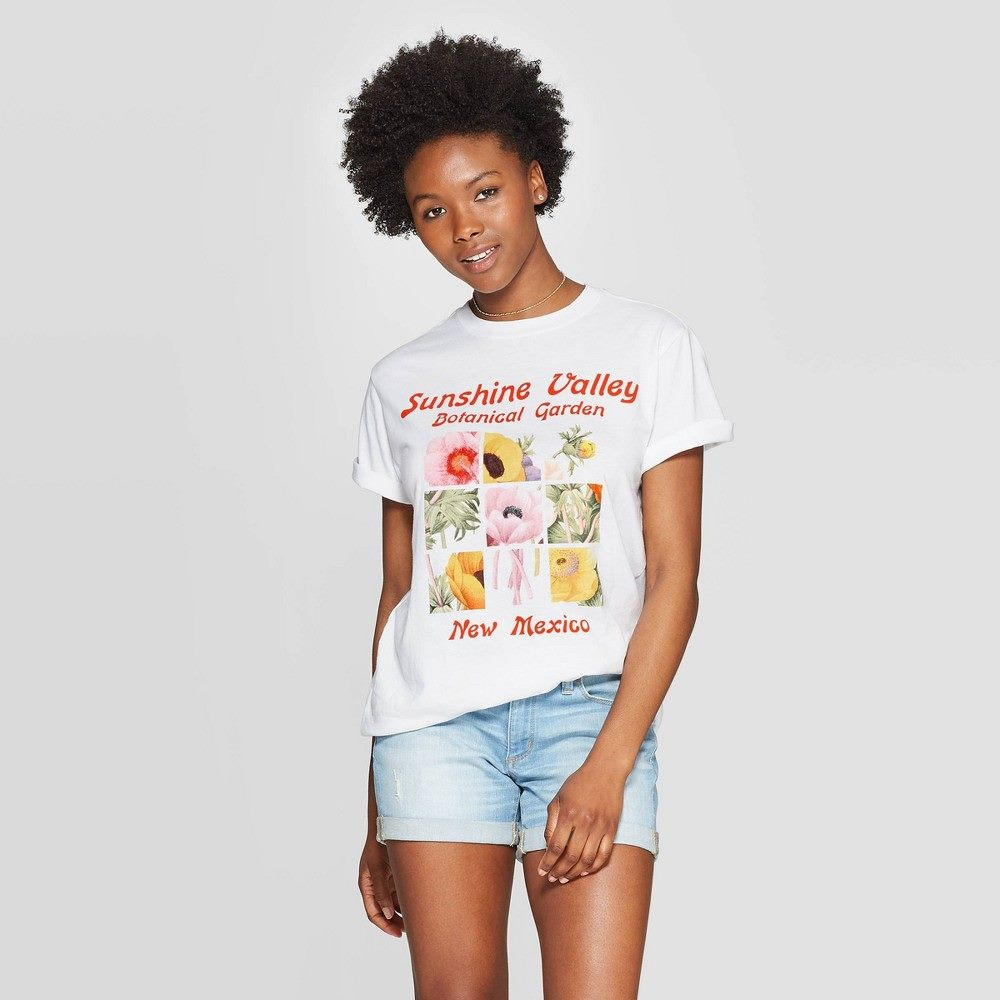 Women's short sleeve sunshine valley botanical garden graphic t-shirt - mighty fine (juniors') - white m