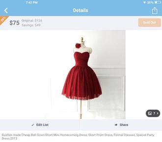 dress red lace grad dress pretty classy short beautifu cute ribbon ruffle